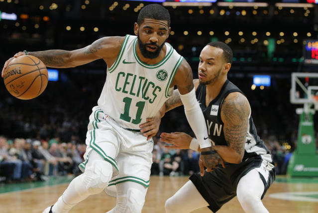 "<a class=""link rapid-noclick-resp"" href=""/nba/players/4840/"" data-ylk=""slk:Kyrie Irving"">Kyrie Irving</a> appears bound for the <a class=""link rapid-noclick-resp"" href=""/nba/teams/brooklyn/"" data-ylk=""slk:Brooklyn Nets"">Brooklyn Nets</a>, according to reports. (David Butler II-USA Today Sports)"