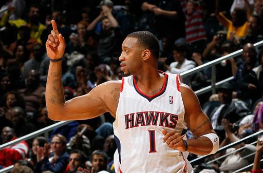 ATLANTA, GA - FEBRUARY 08: Tracy McGrady #1 of the Atlanta Hawks reacts after a three-point basket against the Indiana Pacers at Philips Arena on February 8, 2012 in Atlanta, Georgia. (Photo by Kevin C. Cox/Getty Images)