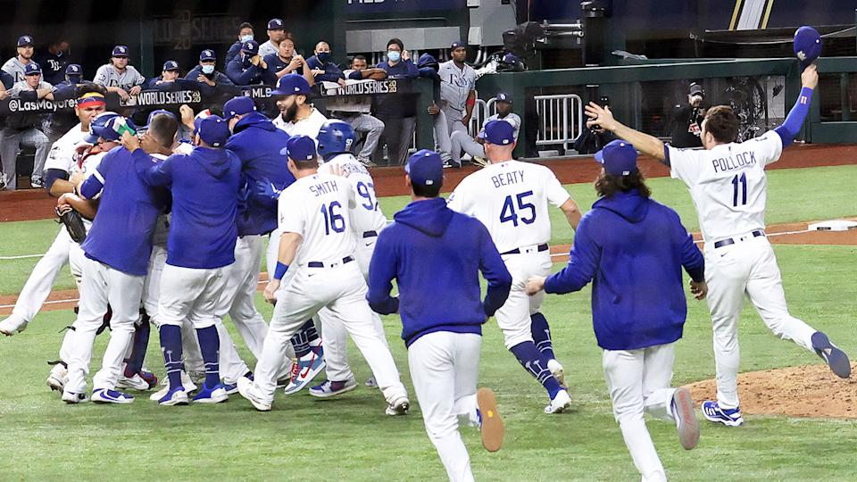 Seen here, the LA Dodgers celebrate their World Series triumph.