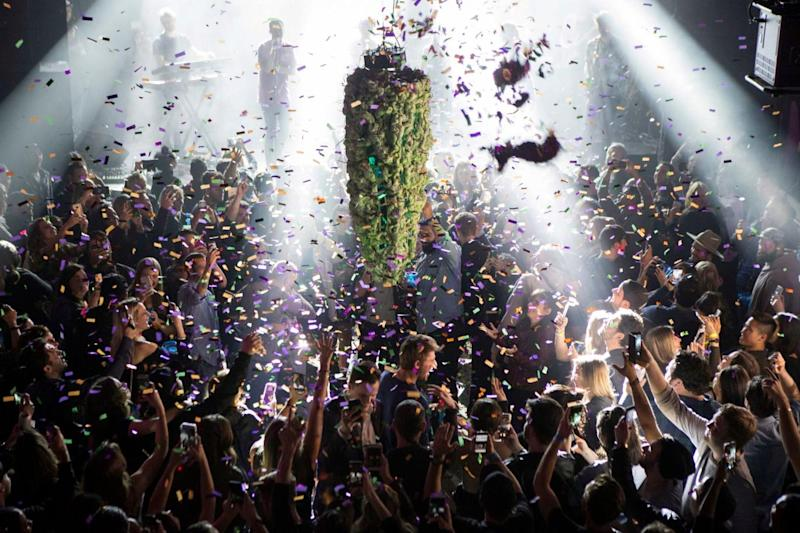 A depiction of a cannabis bud drops from the ceiling at Leafly's countdown party in Toronto (Chris Young/AP)