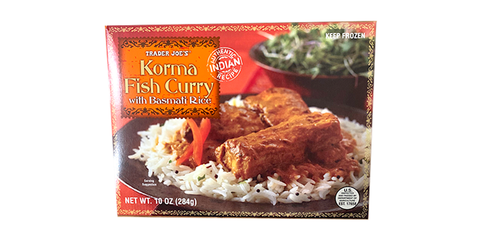 <p>I was also a little skeptical of a frozen fish entrée (though in hindsight, fish sticks are great, so this is silly), but TJ's came through. Their Indian food always hits! This dish is super filling and has a pretty solid meat-to-rice ratio. </p>