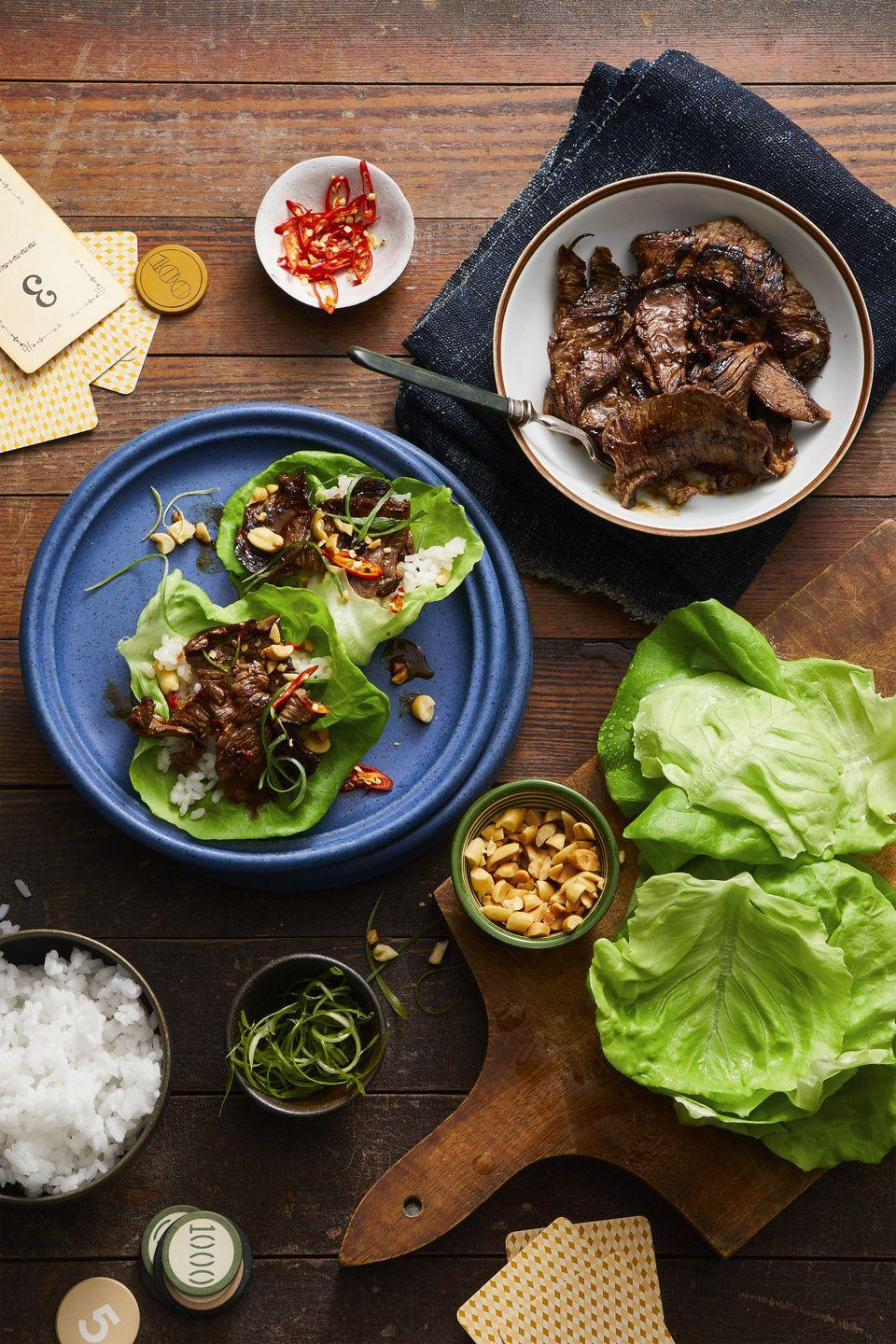 "<p>Create a healthy taco bar of your own with these customizable lettuce wraps. </p><p><em><a href=""https://www.goodhousekeeping.com/food-recipes/easy/a47669/korean-pineapple-beef-lettuce-wraps-recipe/"" rel=""nofollow noopener"" target=""_blank"" data-ylk=""slk:Get the recipe for Korean Pineapple Beef Lettuce Wraps »"" class=""link rapid-noclick-resp"">Get the recipe for Korean Pineapple Beef Lettuce Wraps »</a></em></p>"