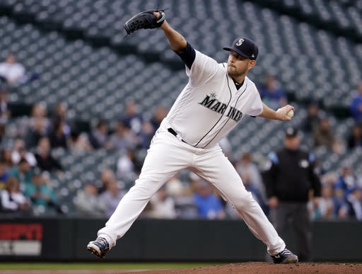 """<a class=""""link rapid-noclick-resp"""" href=""""/mlb/teams/sea"""" data-ylk=""""slk:Seattle Mariners"""">Seattle Mariners</a> starting pitcher <a class=""""link rapid-noclick-resp"""" href=""""/mlb/players/9331/"""" data-ylk=""""slk:James Paxton"""">James Paxton</a> hurled a gem Wednesday (AP Photo)."""