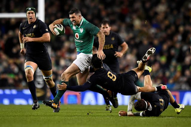 Rugby Union - Autumn Internationals - Ireland vs Argentina - Aviva Stadium, Dublin, Republic of Ireland - November 25, 2017 Ireland's Rob Kearney in action with Argentina's Martin Landajo REUTERS/Clodagh Kilcoyne