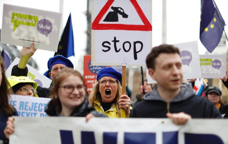 Anit-Brexit activists rallied outside parliament ahead of the vote (AFP Photo/Tolga AKMEN)