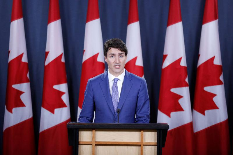 Canada's PM Trudeau speaks during a news conference in Ottawa