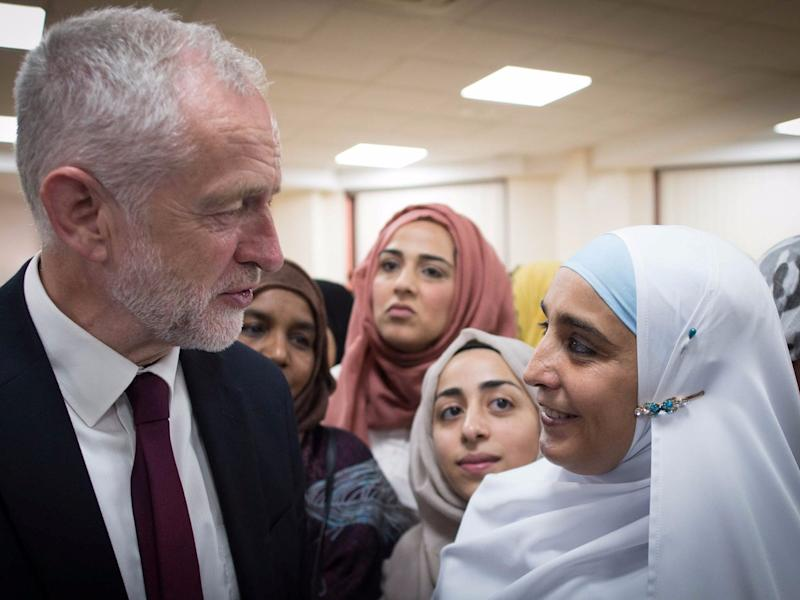 Britain's opposition Labour Party leader, Jeremy Corbyn, meets local people in Finsbury Park Mosque, near the scene of an attack, in London, Britain June 19, 2017.