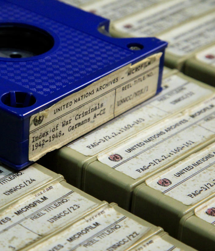 A section of the 184 reels of microfilm of transferred documents of World War II criminals, which are kept in a locked room in a building near the U.N. complex in New York, is shown during a special tour on Thursday, Feb. 23, 2012. British and American researchers are campaigning to make public a huge but little known U.N. archive documenting 10,000 cases against accused World War II criminals, from Adolf Hitler to a Japanese commander convicted of inciting rape. (AP Photo/Bebeto Matthews)