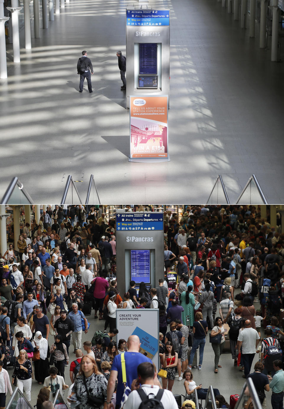A combo of images shows people milling around at St Pancras International train station, in London on Friday, July 26, 2019 and the empty scene taken from the same angle on Thursday, April 2, 2020. When Associated Press photographer Frank Augstein moved to London in 2015, what struck him most was the crowds. Augstein revisited in recent days many of sites he has photographed, after Britain — like other countries around the world — went into effective lockdown to stem the spread of the new coronavirus. (AP Photo/Frank Augstein)