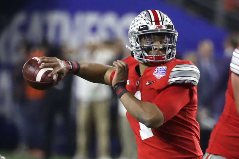 Ohio State quarterback Justin Fields (1) during the first half of the Fiesta Bowl NCAA college football game against Clemson, Saturday, Dec. 28, 2019, in Glendale, Ariz. (AP Photo/Rick Scuteri).