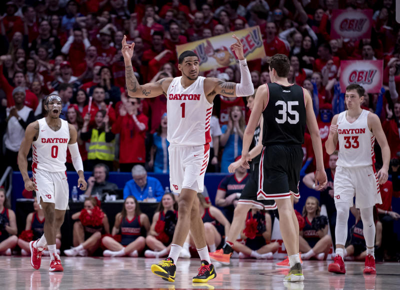 Obi Toppin #1 of the Dayton Flyers reacts during a game against the Davidson Wildcats on Feb. 28, 2020. (Michael Hickey/Getty Images)