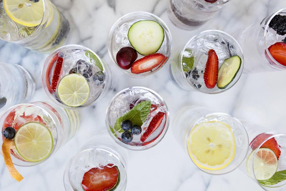 <p>Anytime you reach for a drink, make it zero-calorie water. Staying hydrated will make you feel more energetic, fill your belly, aid in digestion, prevent constipation, and makes your skin glow. Hate plain water? Add a few slices of fresh fruit for flavor.</p>