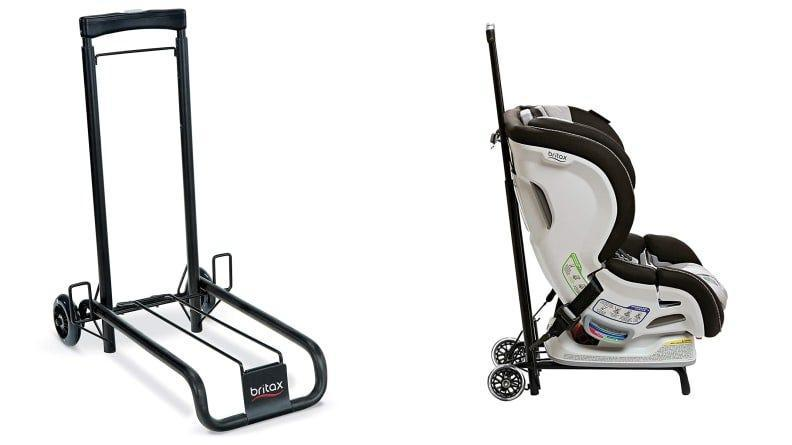 Easily transport your child--and their carseat--with the Britax rolling cart.