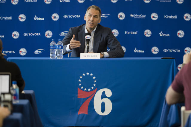 Five Twitter accounts could cost Bryan Colangelo his job with the Sixers. (AP Photo)