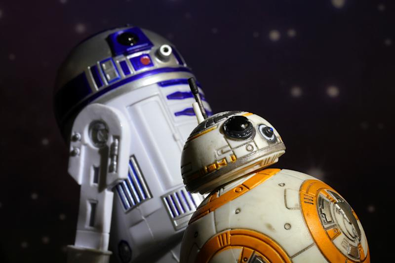 Vancouver, Canada - January 24, 2016: Models of R2-D2 and BB8 droids from the Star Wars Film Franchise. The toys are part of the Black Series, from Hasbro.