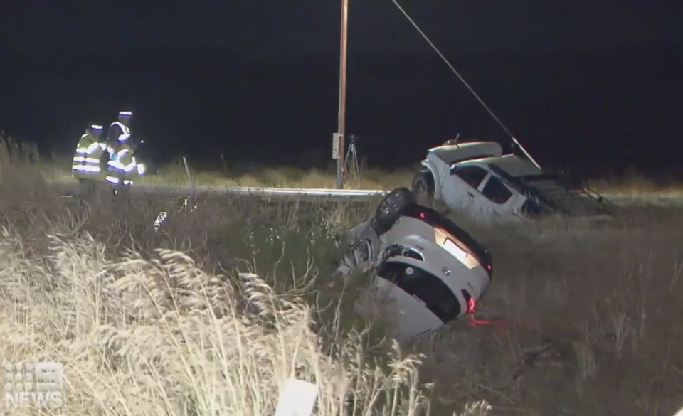 Two cars in an embankment following a crash in McLaren Vale.