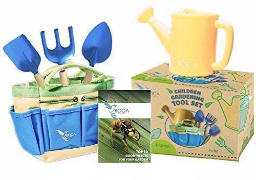 "These garden tools for kids feature <a href=""https://www.amazon.com/Gardening-Learning-ROCA-Summer-Outdoor/dp/B014G1PFTE"" target=""_blank"">a STEM early learning guide</a> to help them learn about nature and animals. On top of that, it encourages them to explore the great outdoors."