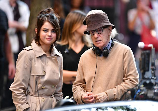 Selena Gomez on the set with Woody Allen on Sept. 11. (Photo: Getty Images)