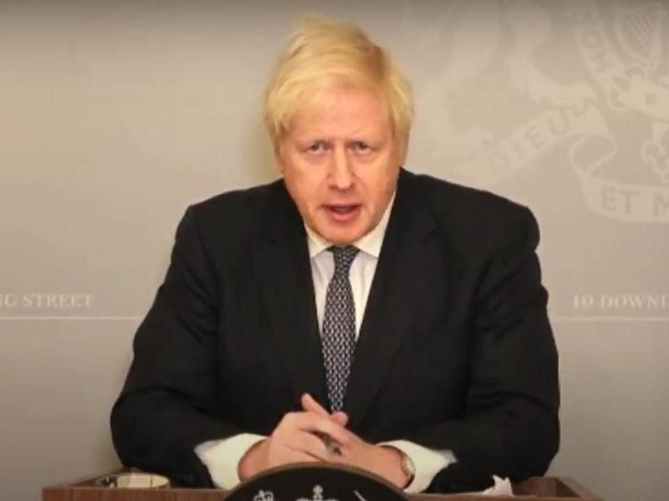 <p>Boris Johnson holds a Downing Street press conference via videolink after unveiling his winter plans in the Commons</p> (PA)
