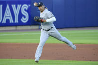 New York Yankees shortstop Gleyber Torres field a ball hit by Toronto Blue Jays Teoscar Hernandez for a out during the third inning of a baseball game, Tuesday, June 15, 2021, in Buffalo, N.Y. (AP Photo/Jeffrey T. Barnes)