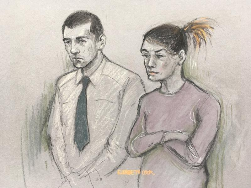 File court artist sketch dated 21/01/19 by Elizabeth Cook of Stephen Waterson and Adrian Hoare in court. Waterson, who is accused of squashing his girlfriend's toddler with a car seat, has been accused of using the fact his father is a former Government minister to make himself untouchable.
