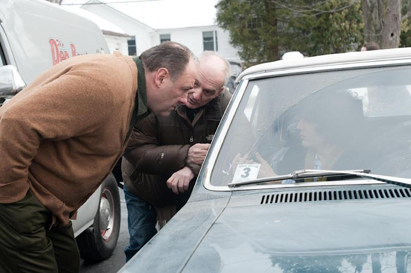 "This film image released by Paramount Vantage shows James Gandolfini, left, with writer-director David Chase during the filming of ""Not Fade Away."" The film is Chase's first movie and his long-awaited follow-up to ""The Sopranos,"" the venerated HBO drama he created and produced for six seasons. The '60s rock 'n' roll drama is set around a suburban teenager in New Jersey whose garage band aspires to be the next Rolling Stones, an ambition at odds with his traditional Italian father, played by James Gandolfini.  (AP Photo/Paramount Vantage, Barry Wetcher)"