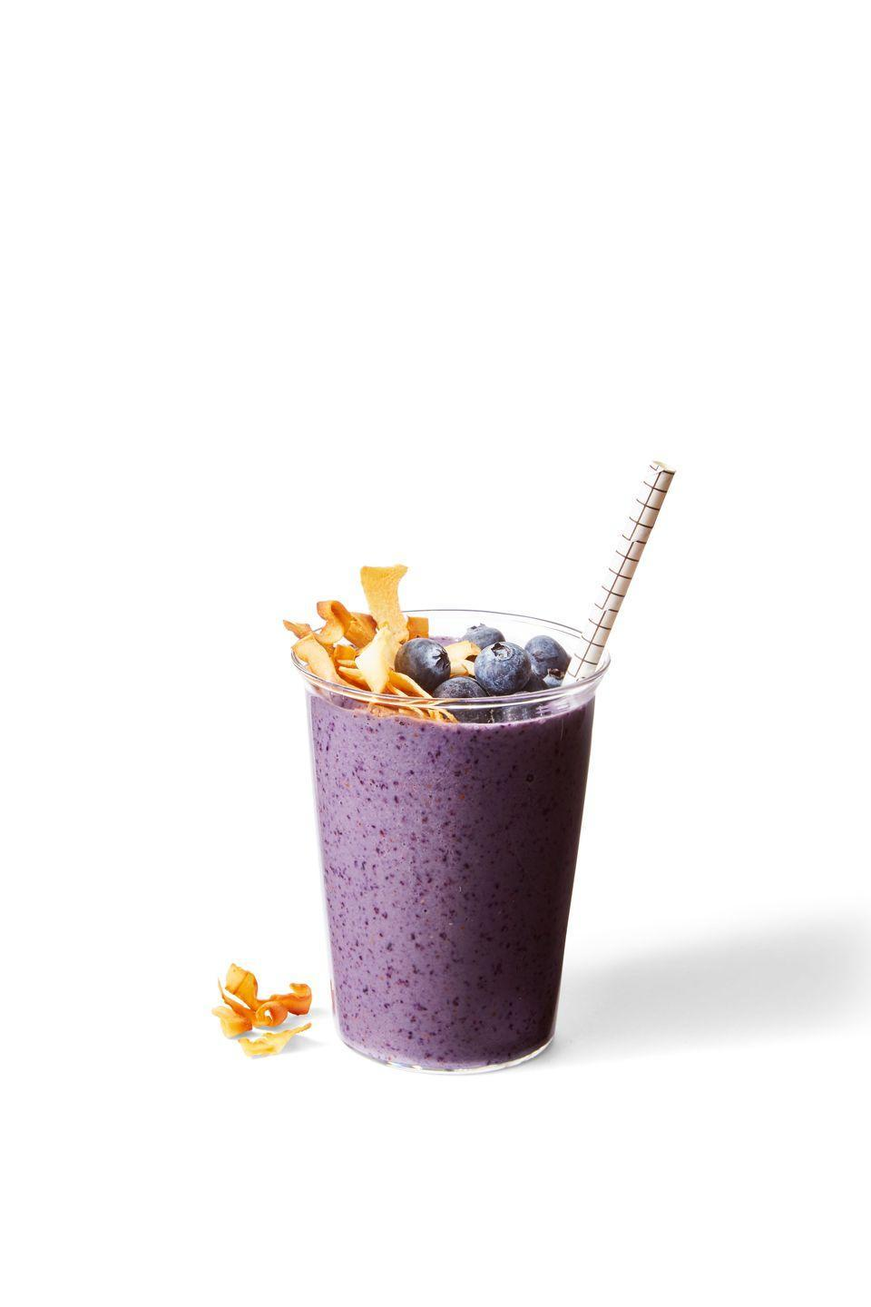 "<p>With frozen berries and almond butter, this is like PB&J in smoothie form. Yum!</p><p><em><a href=""https://www.goodhousekeeping.com/food-recipes/a34236605/how-to-make-a-smoothie-recipe/"" rel=""nofollow noopener"" target=""_blank"" data-ylk=""slk:Get the recipe for Blueberry-Banana-Nut Smoothie »"" class=""link rapid-noclick-resp"">Get the recipe for Blueberry-Banana-Nut Smoothie »</a></em></p>"