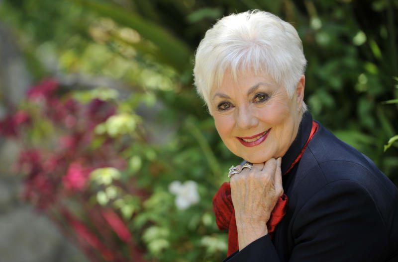 "In this Monday, July 15, 2013 photo, actress Shirley Jones poses for a portrait at her home in Los Angeles. Jones' autobiography, ""Shirley Jones,"" is being released Tuesday, July 23. (Photo by Chris Pizzello/Invision/AP)"