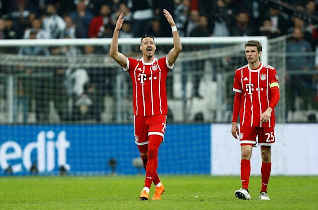 Soccer Football - Champions League Round of 16 Second Leg - Besiktas vs Bayern Munich - Vodafone Arena, Istanbul, Turkey - March 14, 2018 Bayern Munich's Sandro Wagner celebrates with Thomas Mueller after scoring their third goal REUTERS/Osman Orsal