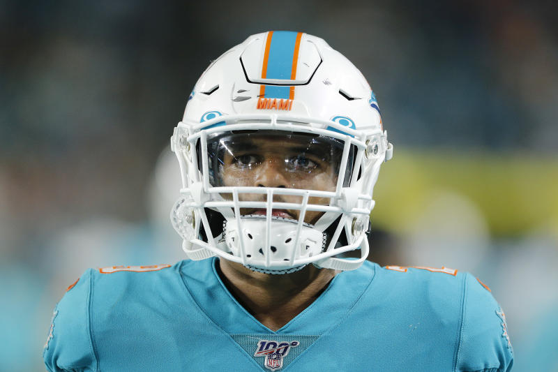 MIAMI, FLORIDA - AUGUST 22: Minkah Fitzpatrick #29 of the Miami Dolphins looks on against the Jacksonville Jaguars during the preseason game at Hard Rock Stadium on August 22, 2019 in Miami, Florida. (Photo by Michael Reaves/Getty Images)