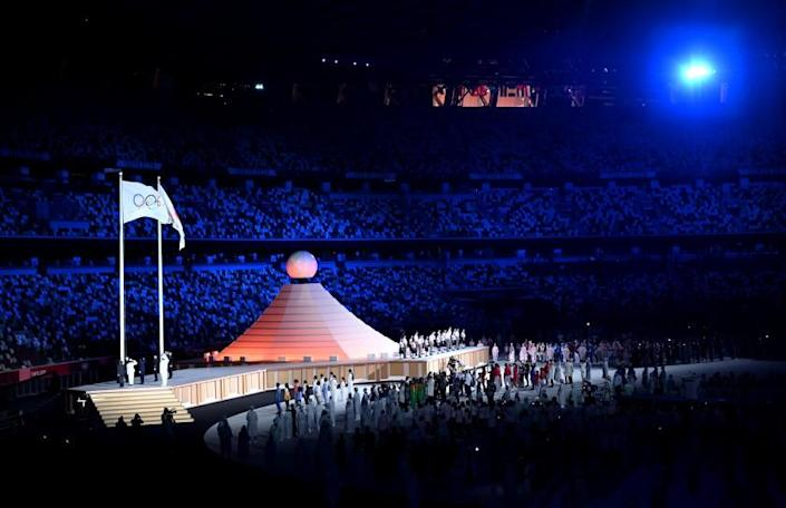 Entertainers perform during opening ceremonies at the 2020 Tokyo Olympics.