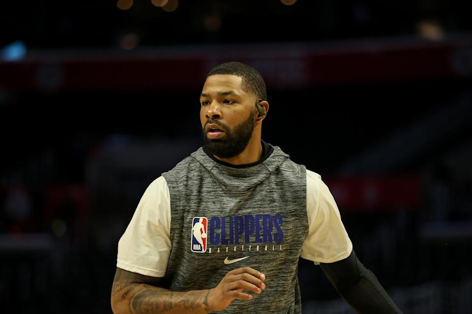 Los Angeles Clippers forward Marcus Morris Sr. before an NBA game against the Denver Nuggets at Staples Center.
