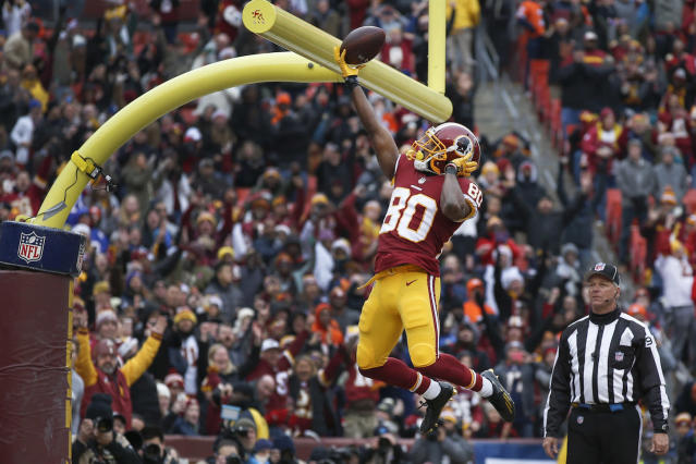"The loss of Derrius Guice ups the emphasis on the Washington pass game, a possible silver lining in <a class=""link rapid-noclick-resp"" href=""/nfl/players/28493/"" data-ylk=""slk:Jamison Crowder"">Jamison Crowder</a>'s comeback campaign. (AP Photo/Alex Brandon)"