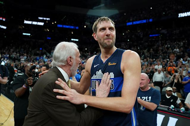 "<a class=""link rapid-noclick-resp"" href=""/nba/players/3252/"" data-ylk=""slk:Dirk Nowitzki"">Dirk Nowitzki</a> thinks he might try coaching someday. (Photos by Darren Carroll/NBAE via Getty Images)"