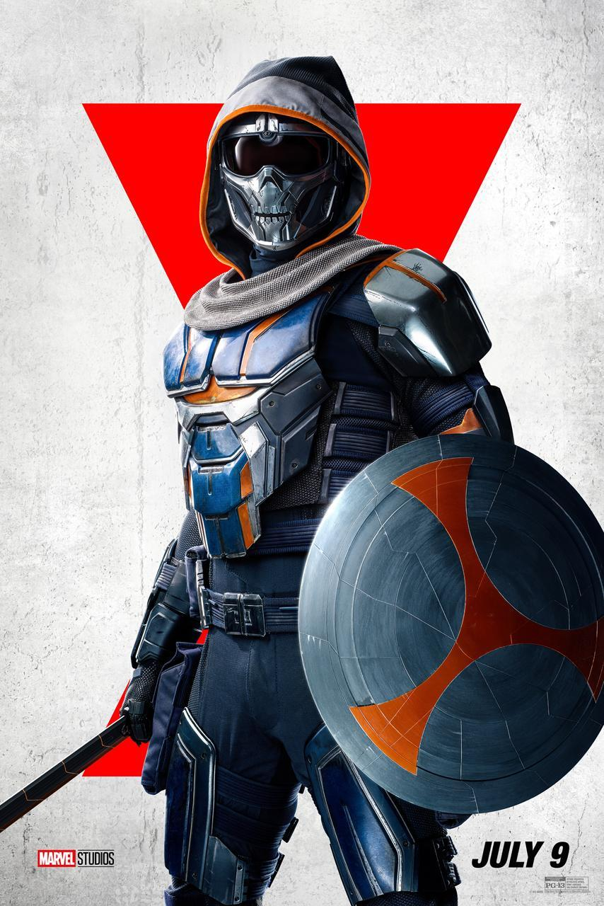 Taskmaster wears a metallic mask, bullet-proof vest, and fabric hood, and holds a round shield and staff or sword weapon.