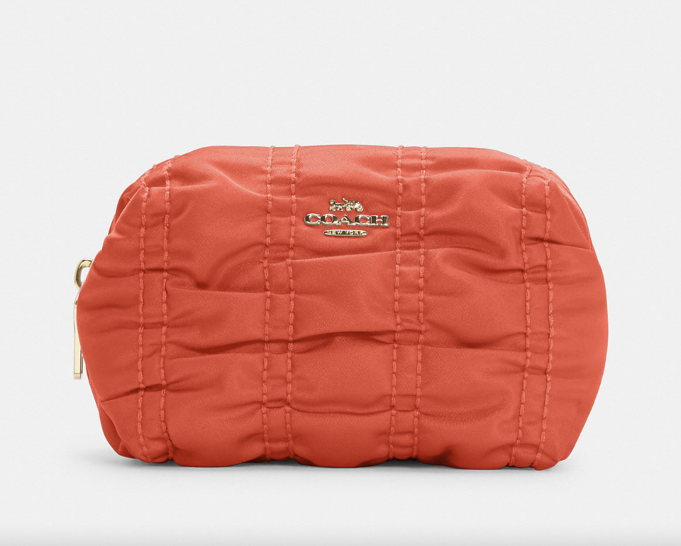 orange coach outlet Small Boxy Cosmetic Case with Ruching