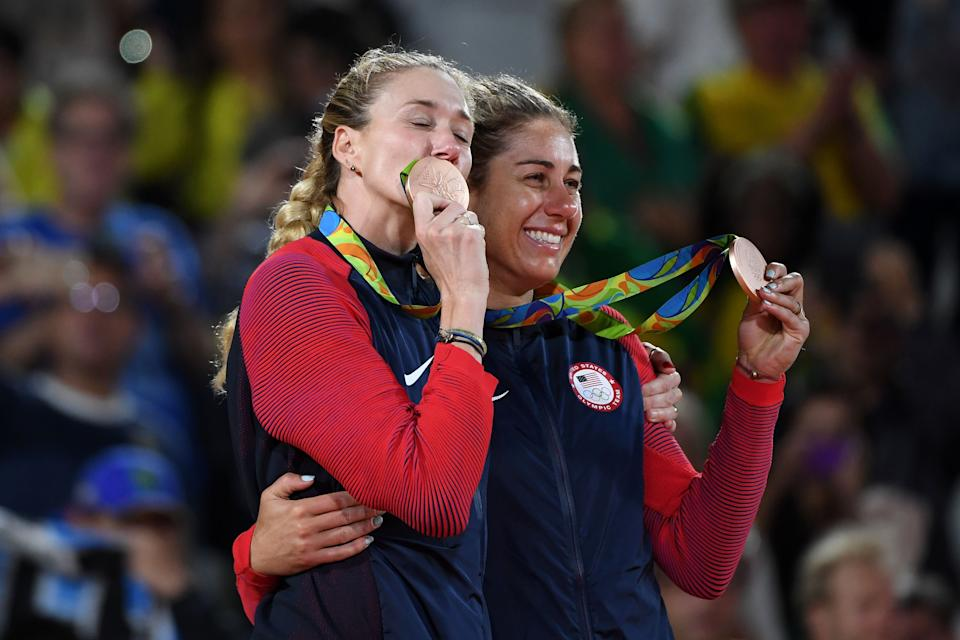 Kerri Walsh Jennings and April Ross will look to improve on their bronze medals from Rio. (Getty)