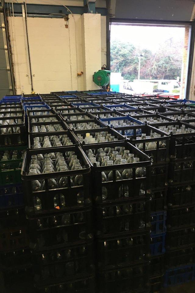 Glass milk bottles can be reused up to 25 times before they are recycled into new bottles (Parker Dairies)