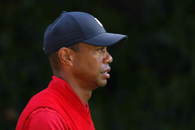 "<a class=""link rapid-noclick-resp"" href=""/pga/players/147/"" data-ylk=""slk:Tiger Woods"">Tiger Woods</a> didn't have a great weekend. (Chris Trotman/Getty Images)"