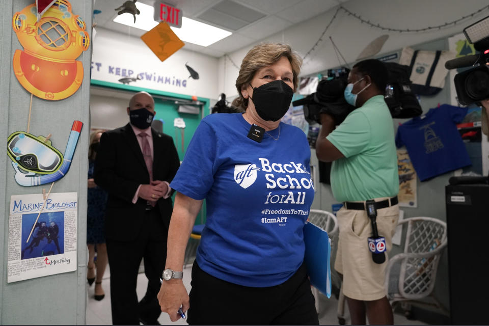 American Federation of Teachers President Randi Weingarten tours a classroom at the New River Middle School, Thursday, Sept. 2, 2021, in Fort Lauderdale, Fla. Weingarten is on a nationwide tour of schools to stress the importance of safely returning to five-day-a-week in person learning. Broward County is one of numerous school districts in Florida with a mask mandate for students. (AP Photo/Lynne Sladky)