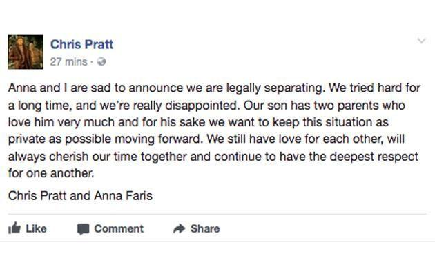 The couple posted a statement on social media. Source: Facebook