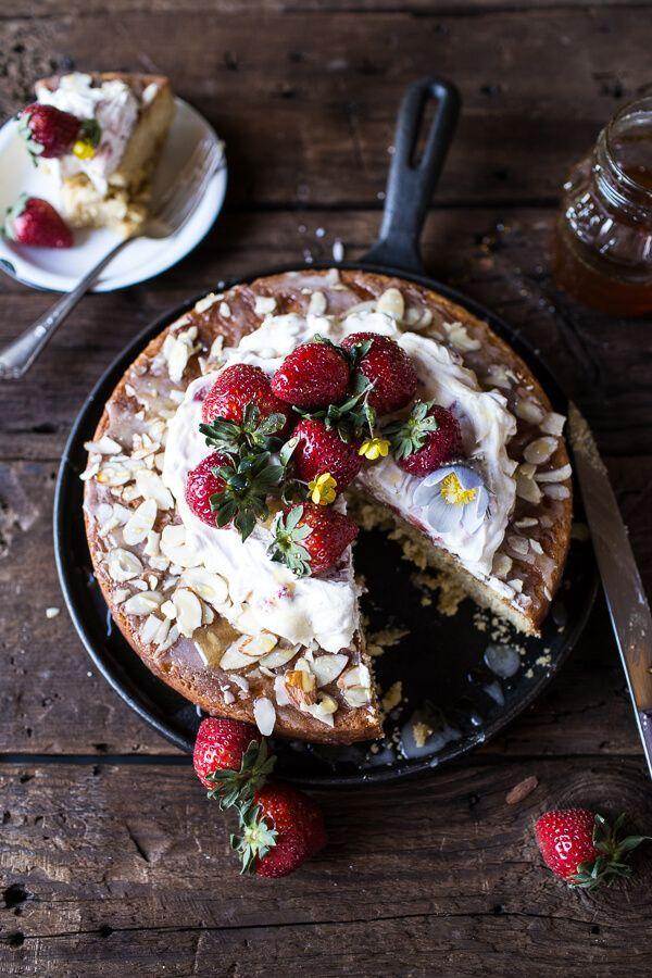 """<p>Topped with sliced almonds and strawberries, the subtle nutty flavor in this cake comes from ground almond flour in the batter.</p><p><strong>Get the recipe at <a href=""""http://www.halfbakedharvest.com/almond-honey-cake-with-strawberry-ripple-cream/"""" rel=""""nofollow noopener"""" target=""""_blank"""" data-ylk=""""slk:Half Baked Harvest"""" class=""""link rapid-noclick-resp"""">Half Baked Harvest</a>.</strong></p>"""