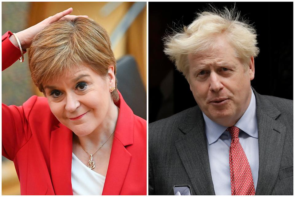 Nicola Sturgeon and Boris Johnson announced two dramatically different sets of coronavirus rules on Tuesday. (Getty Images/AP)