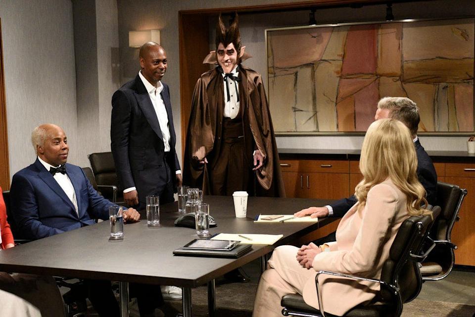 """From left to right, Kenan Thompson as Uncle Ben, host Dave Chappelle as the """"Allstate guy."""" and Pete Davidson as Count Chocula during the """"Uncle Ben"""" sketch on """"SNL."""""""