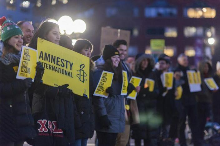 Protesters gather in Union Square Park in New York on Feb. 3, 2017, to express their displeasure with President Trump's executive orders relating to a ban on certain Muslims entering the country and his plans to build a wall between the United States and Mexico. (Photo: Richard B. Levine/Levine Roberts/Newscom via ZUMA Press)