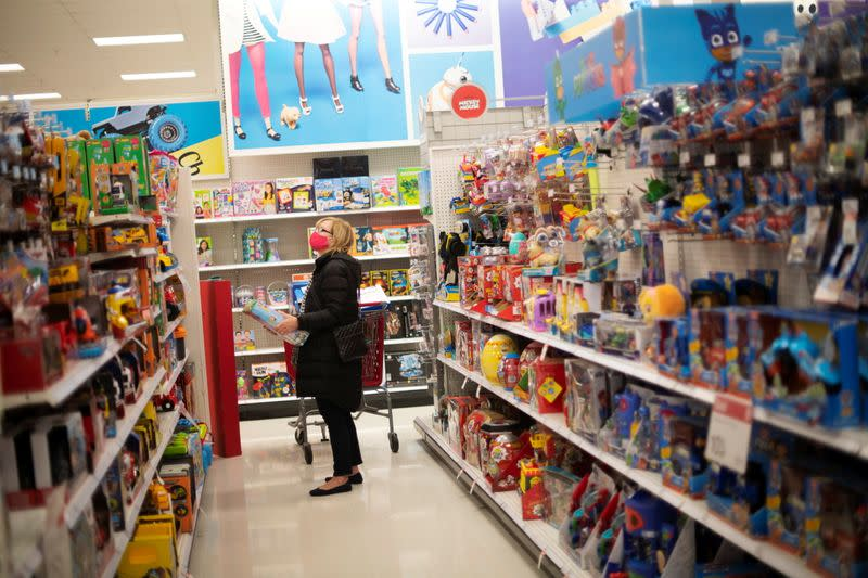 A shopper wearing a face mask due to the coronavirus disease (COVID-19) pandemic browses toys at a Target store in King of Prussia