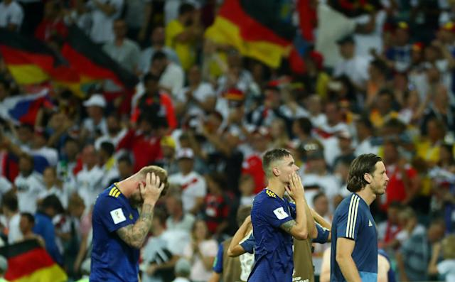 Soccer Football - World Cup - Group F - Germany vs Sweden - Fisht Stadium, Sochi, Russia - June 23, 2018 Sweden players look dejected after the match REUTERS/Pilar Olivares