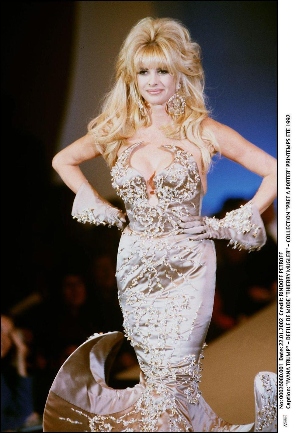 <p>The 45th President's ex-wife took a shimmering turn on Thierry Mugler's Spring 1992 runway.</p>
