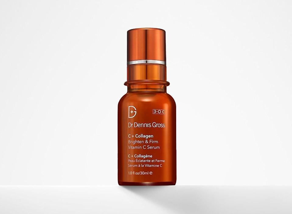 """Vitamin C is a """"powerhouse ingredient,"""" says esthetician Melissa Lekus of <strong><a href=""""https://melissalekus.com/"""" target=""""_blank"""" rel=""""noopener noreferrer"""">Melissa Lekus Skincare Consulting</a></strong>. """"Vitamin C is the most abundant antioxidant in the body fighting free radicals to slow the aging process."""" She recommends <strong><a href=""""https://fave.co/2AZDO2j"""" target=""""_blank"""" rel=""""noopener noreferrer"""">Dr. Dennis Gross C+ Collagen Brighten & Firm Vitamin C Serum</a></strong> to help with hyperpigmentation, prevent the breakdown of collagen and actually increase collagen production for a smoother, brighter complexion. <br><br /><br><a href=""""https://fave.co/2AZDO2j"""" target=""""_blank"""" rel=""""noopener noreferrer""""><strong>Dr. Dennis Gross C+ Collagen Brighten & Firm Vitamin C Serum is available at Sephora</strong></a> for $78."""