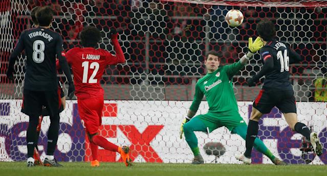 Soccer Football - Europa League Round of 32 First Leg - Spartak Moscow vs Athletic Bilbao - Otkrytiye Arena, Moscow, Russia - February 15, 2018 Spartak Moscow's Luiz Adriano scores their first goal REUTERS/Maxim Shemetov